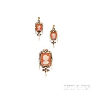 Victorian Hardstone Cameo and Diamond Demi-parure (Lot 464, Estimate $700-$900)