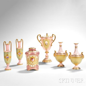 Over 80 Lots of Jeweled Coalport Porcelain on offer