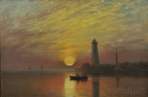 Albert Bierstadt (American, 1830-1902)  Lighthouse, Newport, Rhode Island (Lot 251, $40,000-$60,000)