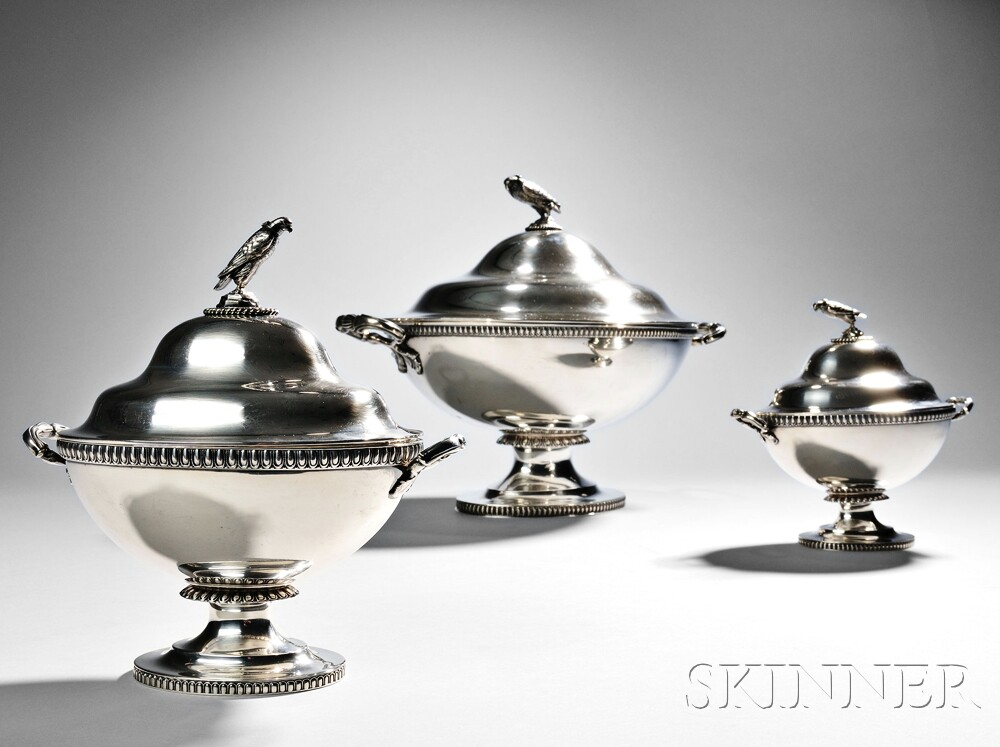 Three Tiffany & Co. Sterling Silver Tureens and Covers (Lot 51, Estimate $2,000-$4,000)