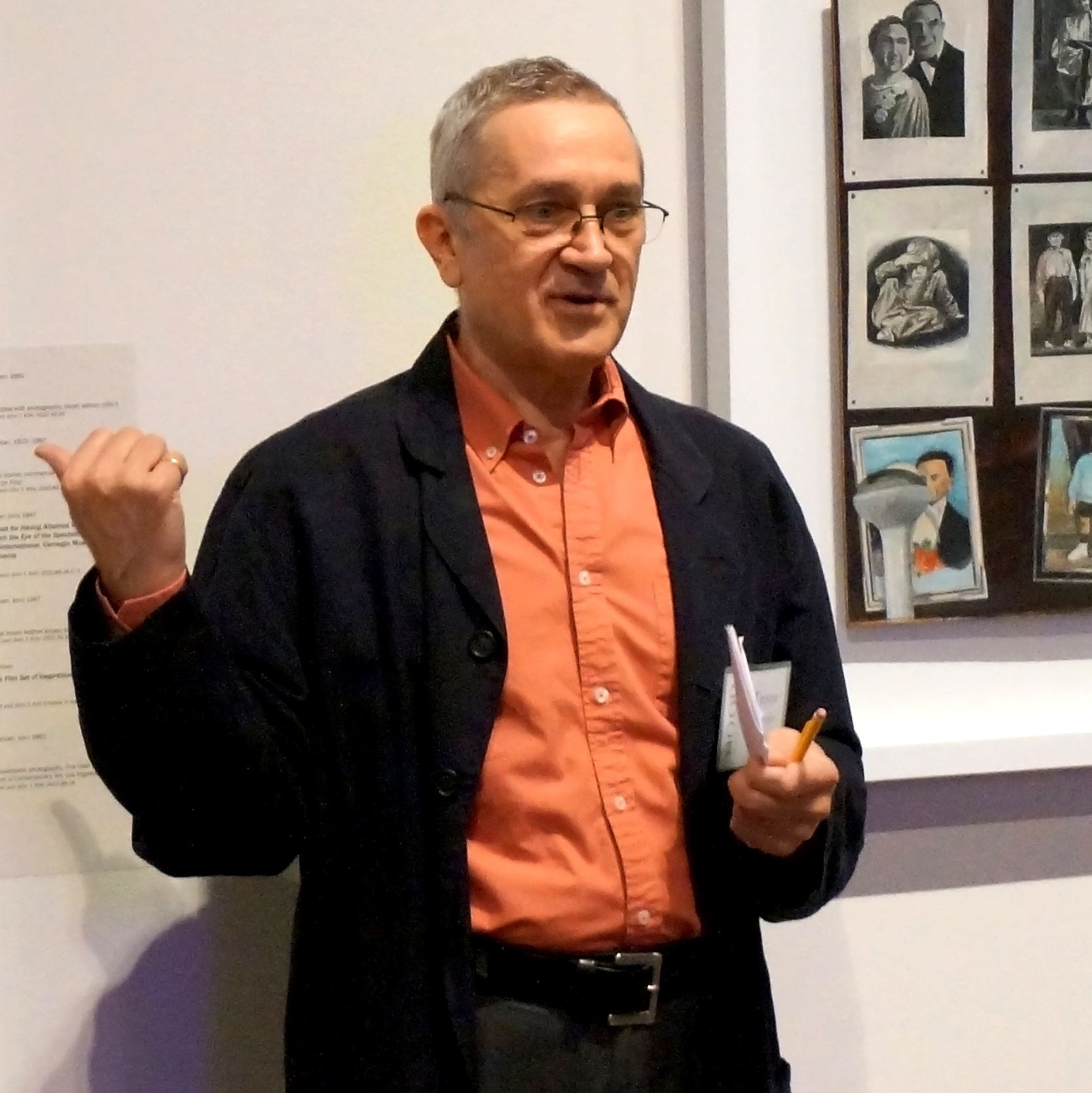 Fairbrother at the Hood Museum of Art during the Collecting and Sharing exhibition, photo by Alison Palizzolo