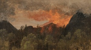 Albert Bierstadt (American, 1830-1902)   White Mountain View with Red Glow of Fire or Reflected Light (Sold for: $22,140)