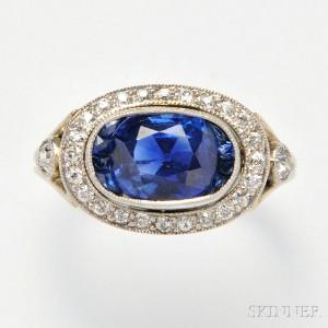 Art Deco Platinum, Kashmir Sapphire, and Diamond Ring (Lot 563, Estimate $12,000-15,000)