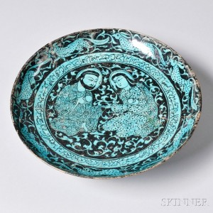 Turquoise and Black Kashan Plate, Persia, 13th/14th century (Lot 9D, Estimate $2,000-2,500)