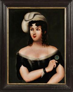 American School, 19th Century, Portrait of a Woman (Lot 525, Estimate $300-500)