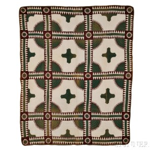Brown and Green 'New York Beauty' Variant Patchwork Quilt, late 19th century (Lot 112, Estimate $800-$1,200)