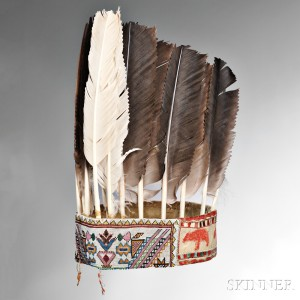 Rare and Important Eastern Ojibwa (Saulteau) War Chief's Turban-Headdress, c. 1840s (Lot 191, Estimate $12,000-$16,000)