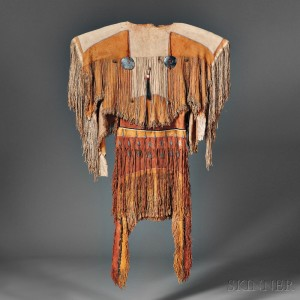 Rare and Important Plains Apache Woman's Dress and Moccasins, c. 1850 (Lot 148, Estimate $80,000-$120,000)