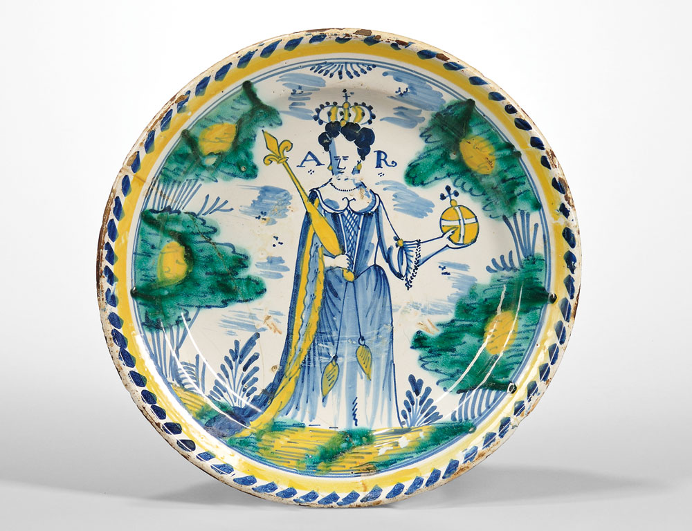 Tin Glazed Earthenware Queen Anne Charger, England, c. 1702-14 (Lot 206, Estimate $15,000-25,000)