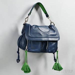 Marc Jacobs Blue and Green Leather Handbag (Lot 1583, Estimate $200-300)