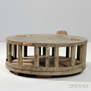 Green-painted Country Store Cheese Box, probably New England, c. 19th century (Lot 335, Estimate $400-600)