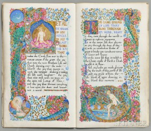 Bayes, Jessie (1876-1970) Illuminated Manuscript, Six Poems from Gitanjali by Rabindranath Tagore. London, 1917 (Lot 1131, Estimate $15,000-$17,000)