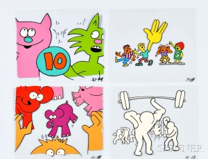 After Keith Haring (American, 1958-1990) Eighty-two Sesame St. Animation Cels (Lot 1091, Estimate $4,000-$6,000)