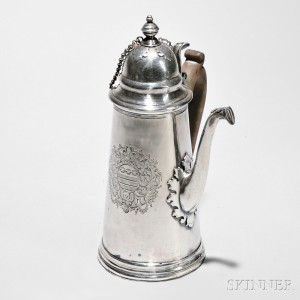 Queen Anne Sterling Silver Chocolate Pot, London, 1704-05 (Lot 1, Estimate $2,500-$3,500)