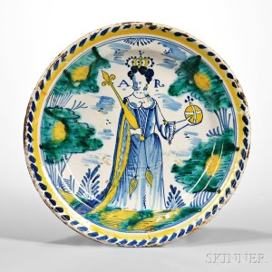 Tin Glazed Earthenware Queen Anne Charger, England, c. 1702-14 (Lot 206, Estimate $15,000-$20,000)