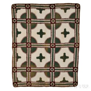 Brown and Green 'New York Beauty' Variant Patchwork Quilt (Lot 112, Estimate $800-1,200)