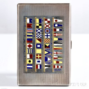 Gold-washed Sterling Silver and Enamel-decorated Cigarette Case, W. Benson, Ltd., England, 20th century (Lot 1350, Estimate $300-$500)