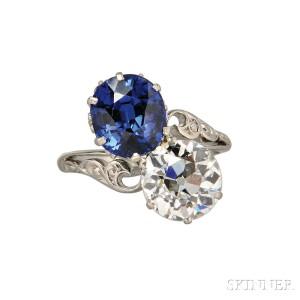 Edwardian Sapphire and Diamond Twin-stone Ring (Lot 554, Estimate $40,000-$60,000)