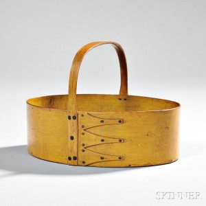 Shaker Yellow-painted Oval Fixed Handle Carrier, Canterbury, New Hampshire, 19th century (Lot 68, $15,000-$25,000)