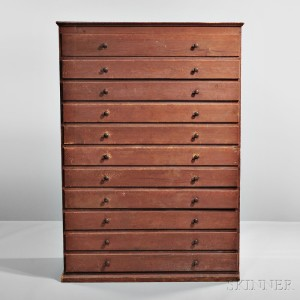 Shaker Red-stained Eleven-drawer Pine Chest, Canterbury, New Hampshire, c. 1830 (Lot 45, Estimate $15,000-$25,000)