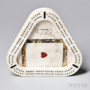 "Triangular Carved Inlaid Marble ""1779"" Cribbage Board, probably England, c. 1779 (Lot 1189, Estimate $300-$500)"
