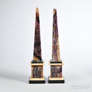 Pair of Derbyshire Blue John Obelisks (Lot 440, Estimate $4,000-$6,000)