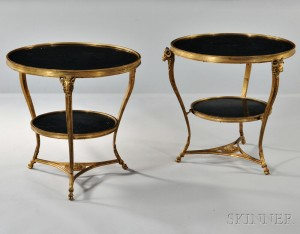Pair of Louis XVI-style Gilt-bronze and Marble Gueridons (Lot 378, Estimate $1,000-$1,500)