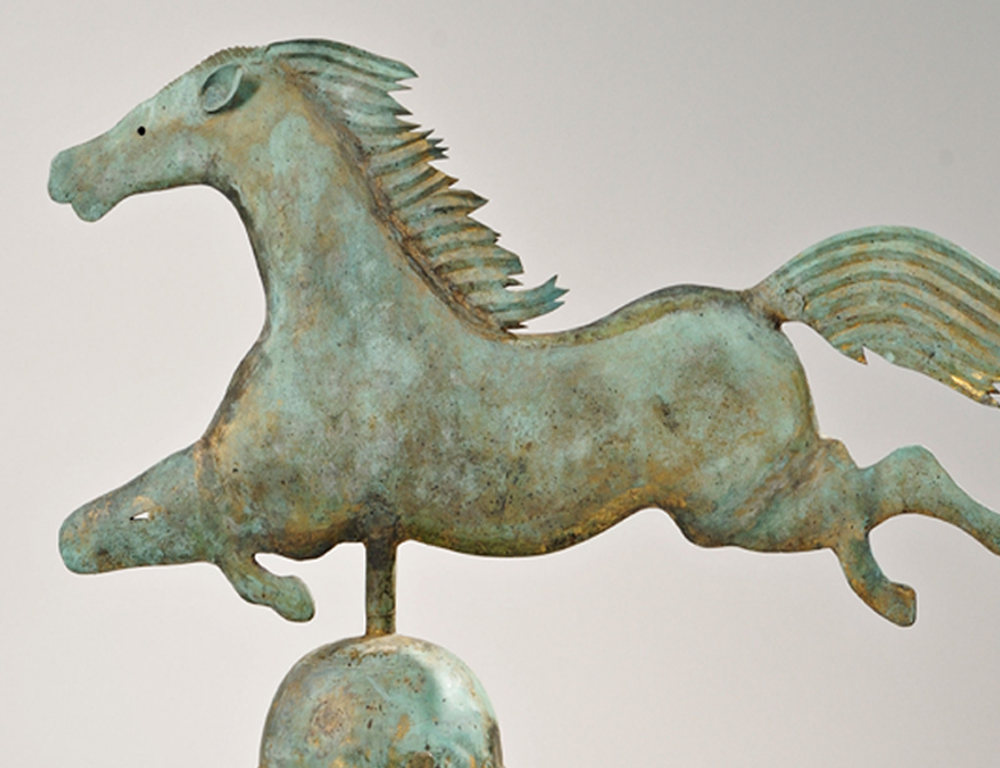 Molded and Sheet Copper Leaping Horse Weathervane on Stand, probably A.L. Jewell and Co., Waltham, Massachusetts, late 19th century