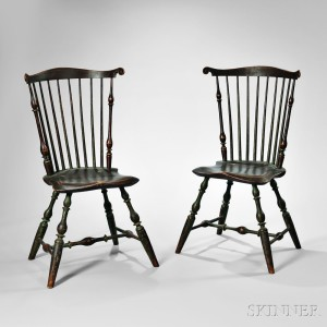 Fine Pair of Painted Fan-back Windsor Side Chairs, probably Massachusetts, c. 1795 (Lot 51, Estimate $8,000-12,000)