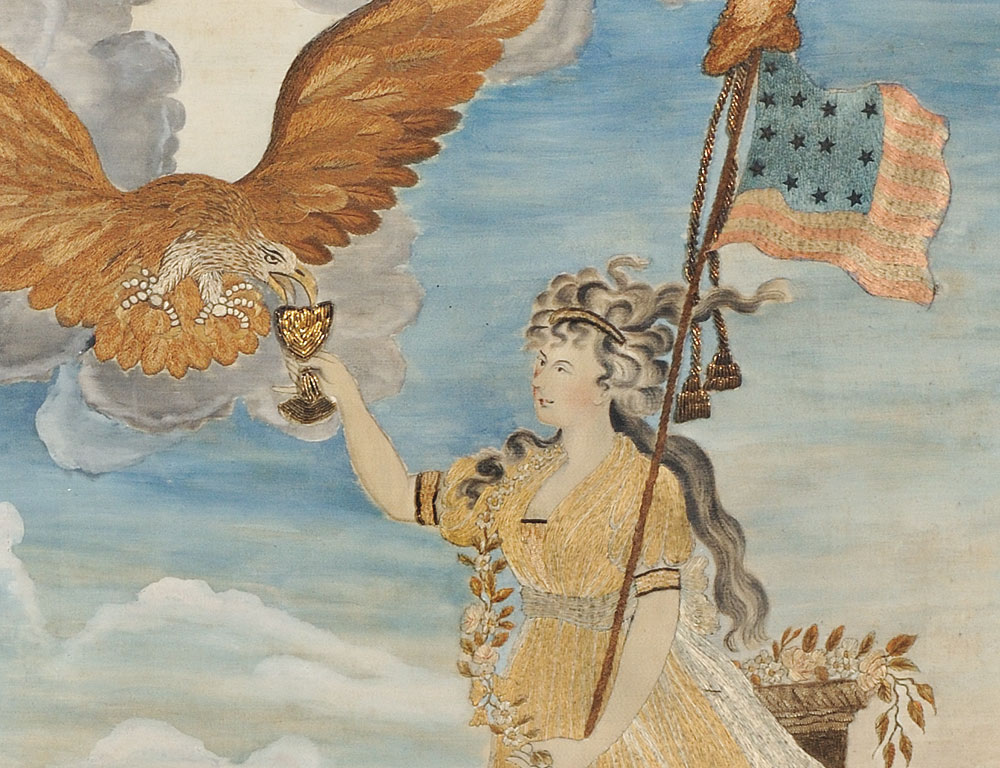 [Detail] Needlework Picture 'Liberty in the Form of the Goddess of Youth', After Edward Savage