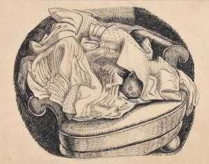 Wanda Gag (American, 1893-1946) Cat Hiding in a Laundry Pile (Lot 342, Estimate $2,500-$3,500)