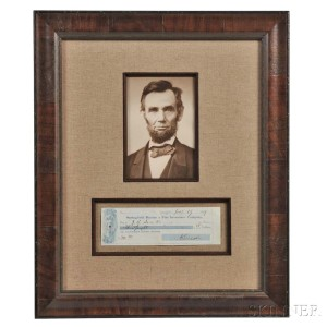 Lincoln, Abraham (1809-1865) Check Signed, 19 January 1859 (Lot 108, Estimate: $3,000-5,000)