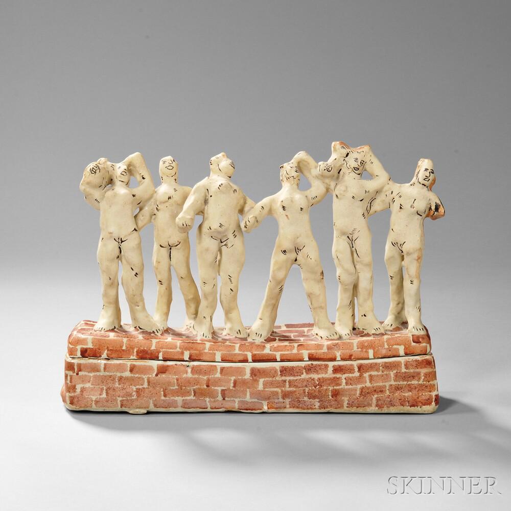 Viola Frey (American, 1933-2004) Two-piece Vessel Depicting Nude Figures on a Brick Wall (Lot 424, Estimate: $3,000-5,000)