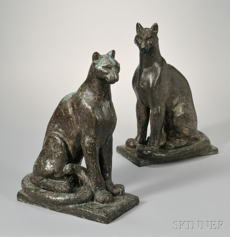 William Zorach (American, 1887-1966) Pumas: A Pair of Bronzes (Lot 375, Estimate: $20,000-30,000)