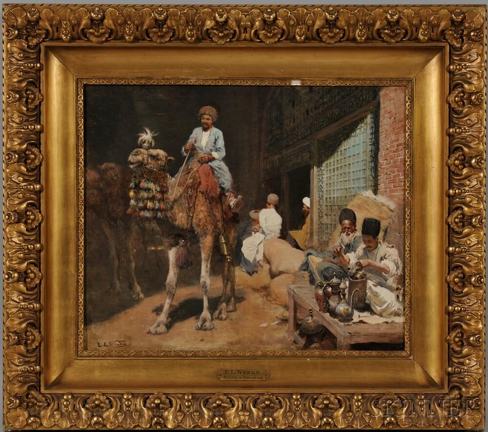 Edwin Lord Weeks (American, 1849-1903) Market in Ispahan or Caravansary outside the Bazaar in Ispahan  (Lot 233, Estimate: $30,000-50,000)