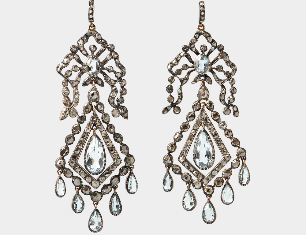 Gold, Silver, Aquamarine, and Diamond Earrings, c. 1785 (Lot 133, Estimate: $4,000-6,000)