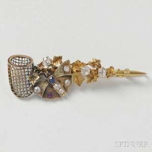 14kt Gold Gem-set Butterfly Net Brooch (Lot 2248, Estimate $400-600)