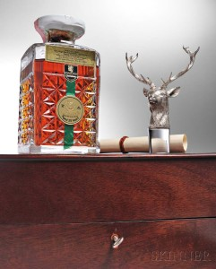 Glenfiddich 25 Year Stag's Head Decanter, Speyside., Official bottling, key locked wooden  presentation case, Edinburgh Crystal decanter with accompanying sterling silver stag's  head stopper, bottled 1982 (Lot 435, Estimate: $2,500-3,000)