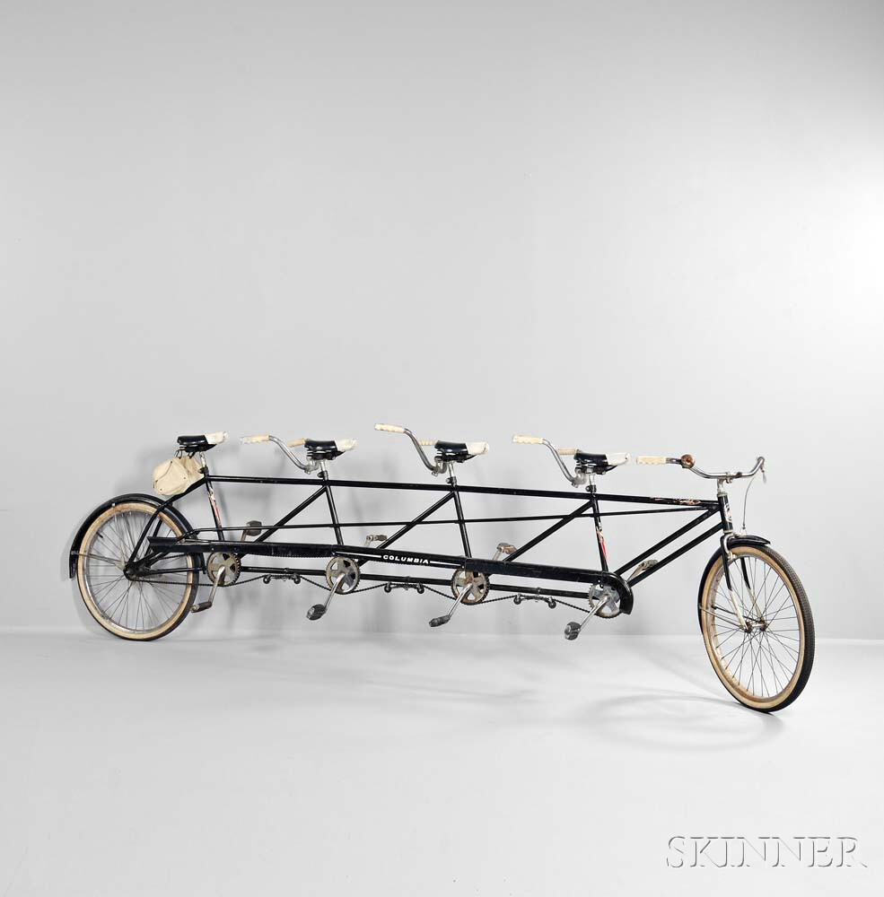Columbia Four-seat Tandem Bicycle, Westfield, Massachusetts, c. 1964 (Lot 1059, Estimate: $800-1,200)