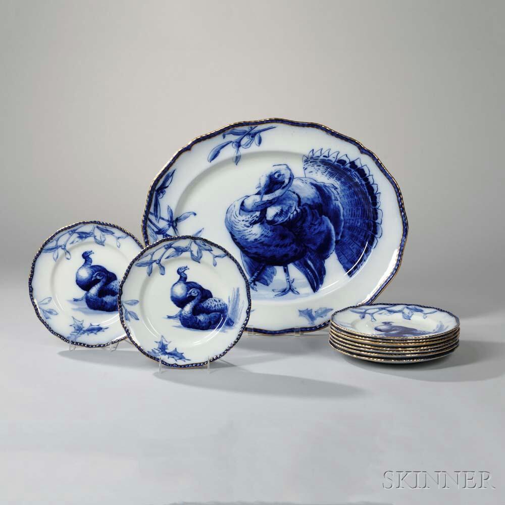 Set of Nine Doulton Burslem Turkey Plates and Platter, 19th/20th century (Lot 1261, Estimate: $600-800)