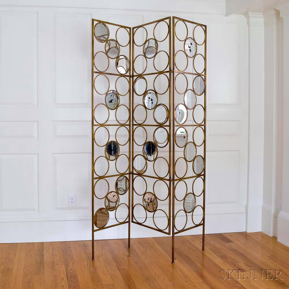 Mod-style Gilt-metal and Mirrored Three-panel Floor Screen (Lot 1226, Estimate: $60-80)