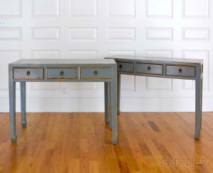 Pair of Four Hands Chinese-style Gray-lacquered Three-drawer Side Tables (Lot 1228, Estimate: $200-300)