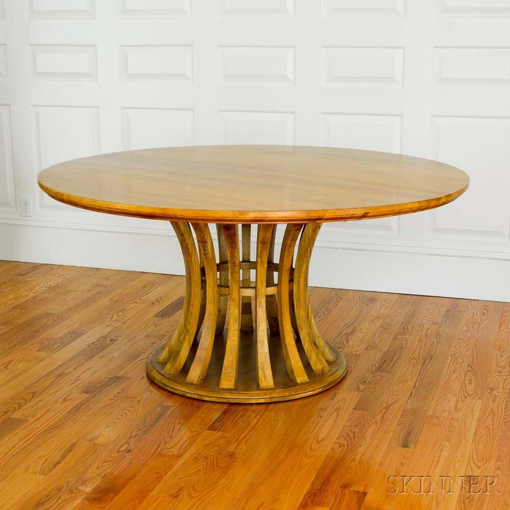 Blonde Asian Hardwood Circular Pedestal Dining Table (Lot 1223, Estimate: $200-400)