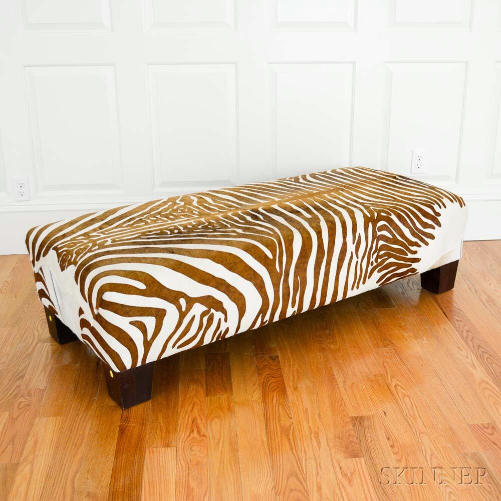 Hide-upholstered Zebra-print Bench (Lot 1216, Estimate: $300-400)