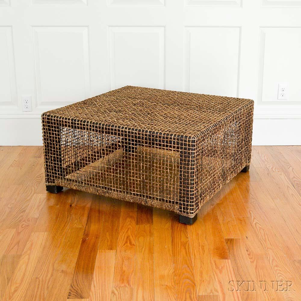 Rattan-clad Cube Table (Lot 1218, Estimate: $100-200)