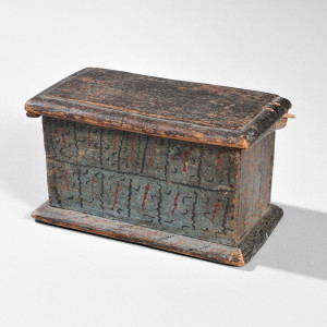 Miniature Paint-decorated Six-board Box, New England, early 18th century (Lot 2, Sold for: $30,750)