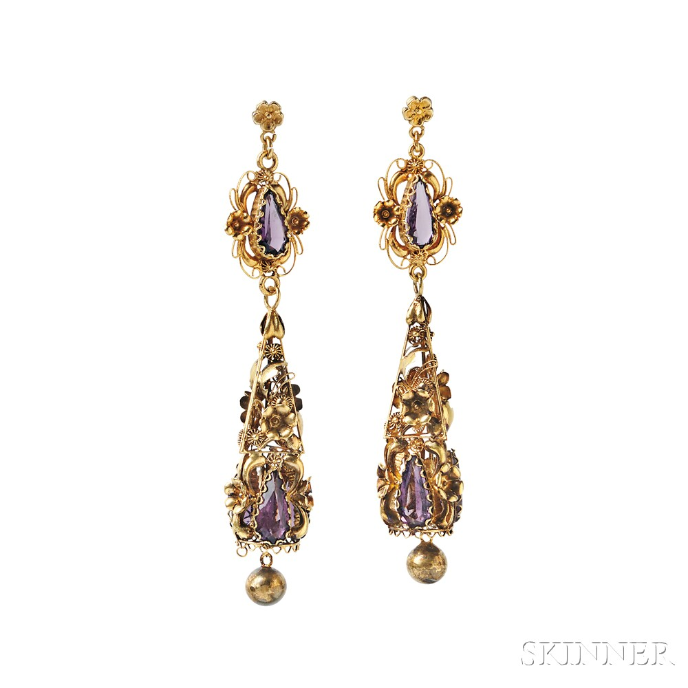 Gold and Amethyst Earrings, c. 1835 (Lot 137, Estimate: $1,000-1,500)