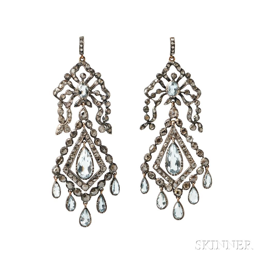 Gold, Silver, Aquamarine, and Diamond Earrings, c. 1785 (Lot 133, Estimate: $4,000-6,000)