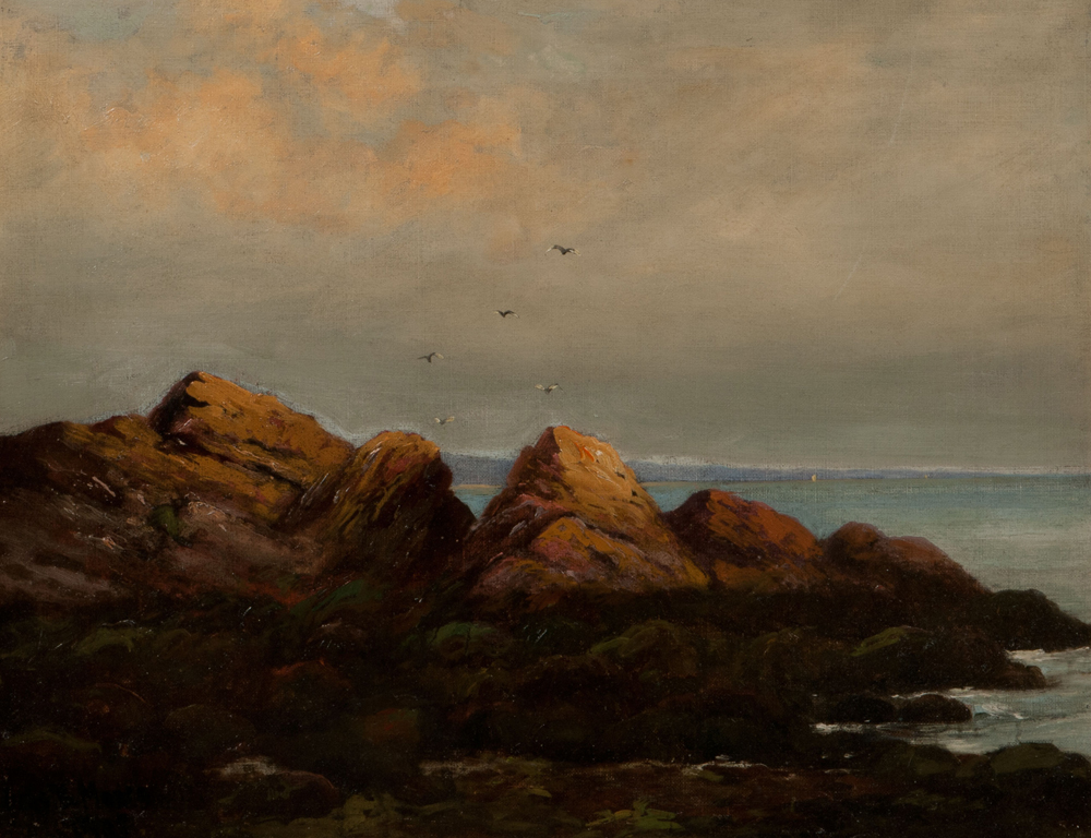 [Detail] Thomas Gibbs Moses (American, 1856-1934)  Low Tide, Ogunquit (Lot 1030, Estimate $800-$1,200)