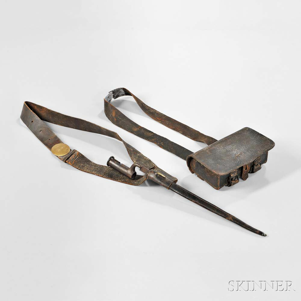 Model 1808 Cartridge Box, Shoulder Belt, and Bayonet, c. early 19th century (Lot 336, Estimate: $1,500-2,000)